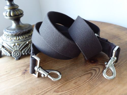 Mulberry Extra Long Canvas Webbed Messenger Strap in Chocolate with Silver