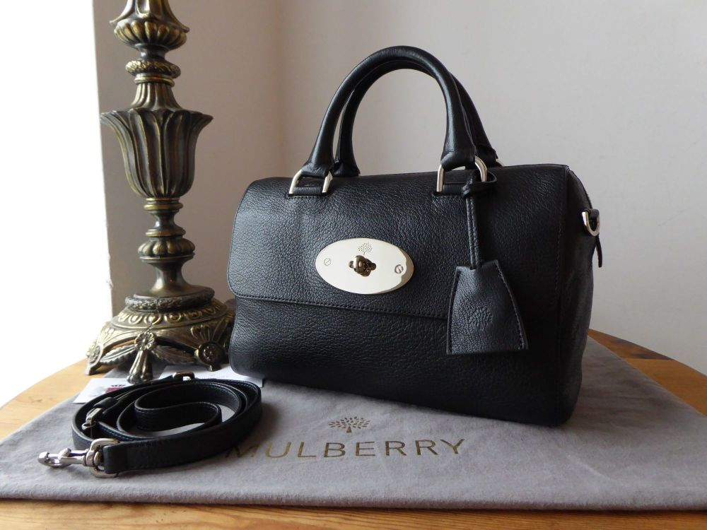 Mulberry Small Del Ray in Black Glossy Goat with Silver Nickel Hardware and