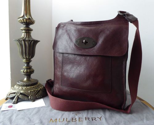Mulberry Anthony Larger Sized Messenger in Oxblood Natural Leather with Dar