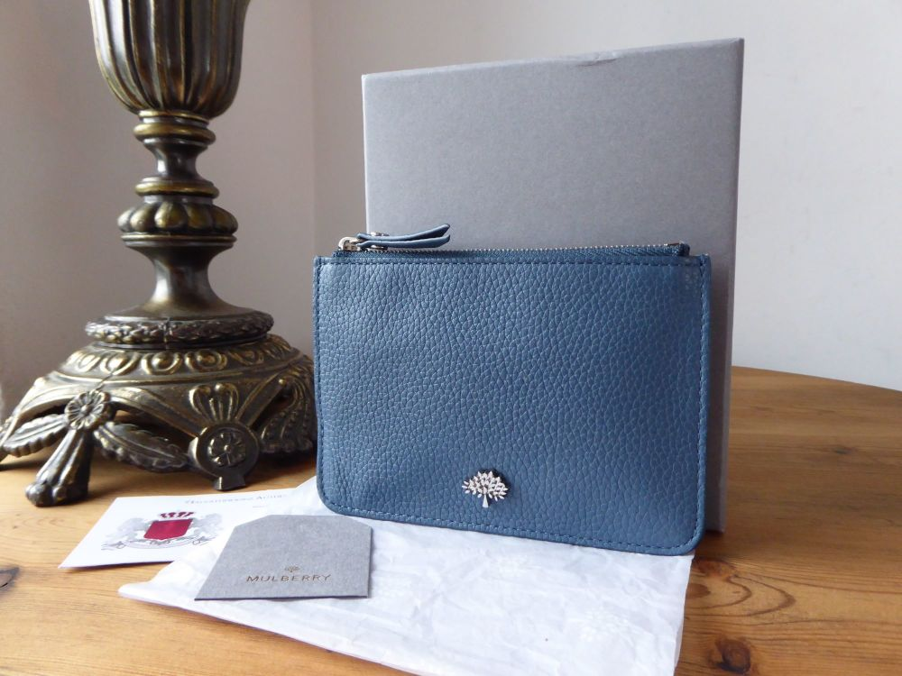 Mulberry Tree Small Zip Coin Card Pouch in Steel Blue Classic Grain Leather