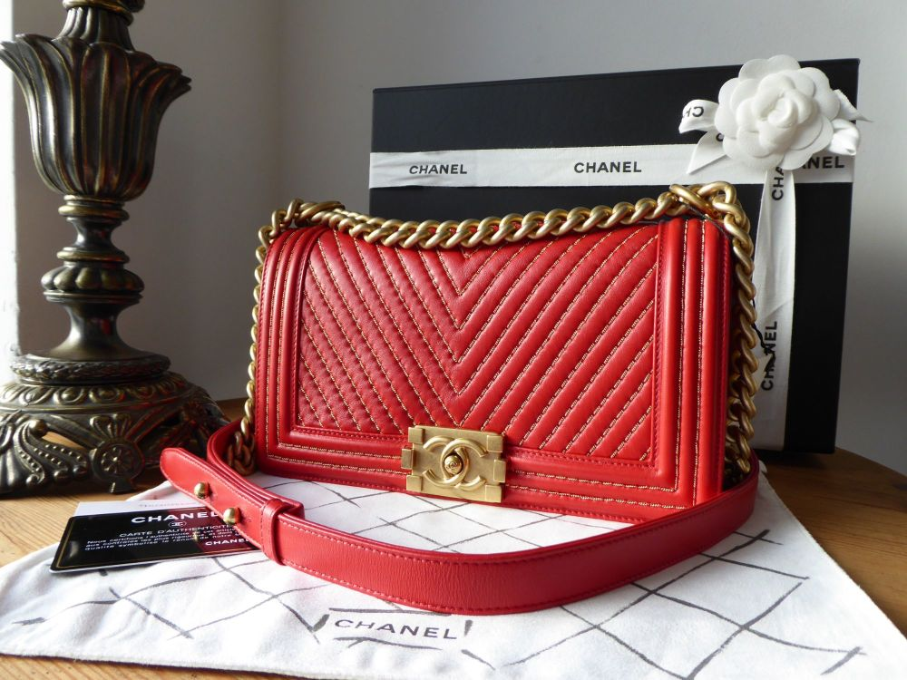Chanel Old Medium Chevron Quilted Boy Bag in Red Lambskin with Metallic Gol