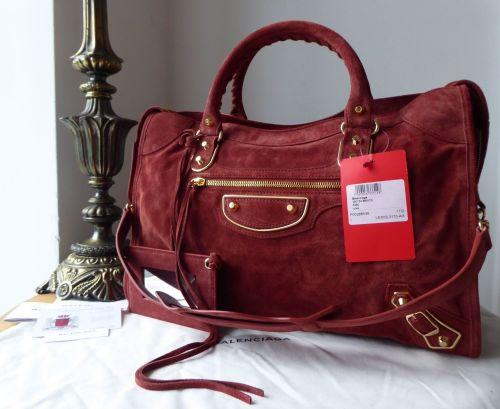 Balenciaga Classic Metallic Edge City Bag in Rust Suede - New