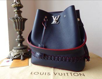 Louis Vuitton Lockme Bucket Bag in Marine Rouge Calfskin - As New*