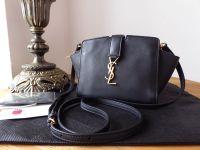 Saint Laurent YSL Y Line Toy Cabas Mini Bag in Black Calfskin with Antiqued Gold Hardware