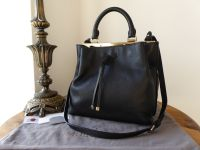 Mulberry Small Kensington Drawstring Satchel in Black Small Classic Grain