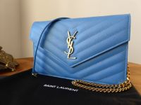 Saint Laurent YSL Monogram Matelasse Chevron Envelope Wallet on Chain Clutch in Bleu Clair Grain De Poudre