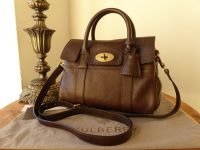 Mulberry Classic Heritage Small Bayswater Satchel in Chocolate Natural Leather
