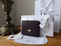Dior D-Bee French Wallet in Oxblood Soft Grain Calfskin - New