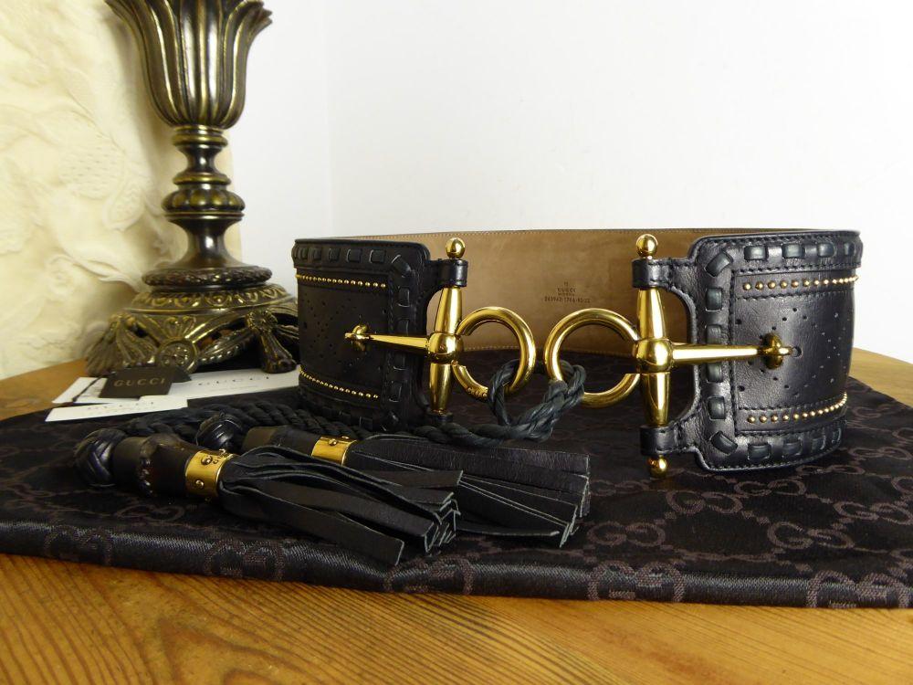 Gucci Wide Waist Belt in Embellished Black Calfskin with Horsebit Buckles a