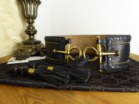 Gucci Wide Waist Belt in Embellished Black Calfskin with Horsebit Buckles and Bamboo Tassle Ties