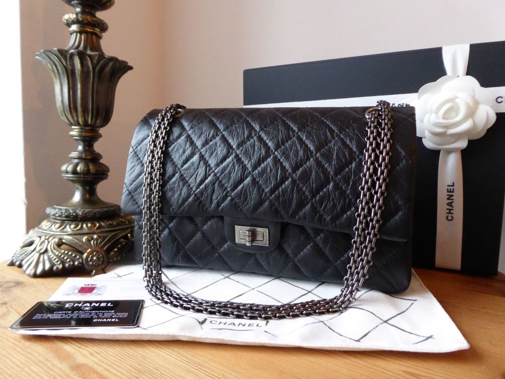 Chanel 226 Reissue Mademoiselle 2.55 Flap in Distressed Black calfskin with