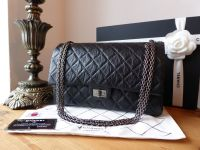 Chanel 226 Reissue Mademoiselle 2.55 Flap in Distressed Black Calfskin with Ruthenium Hardware