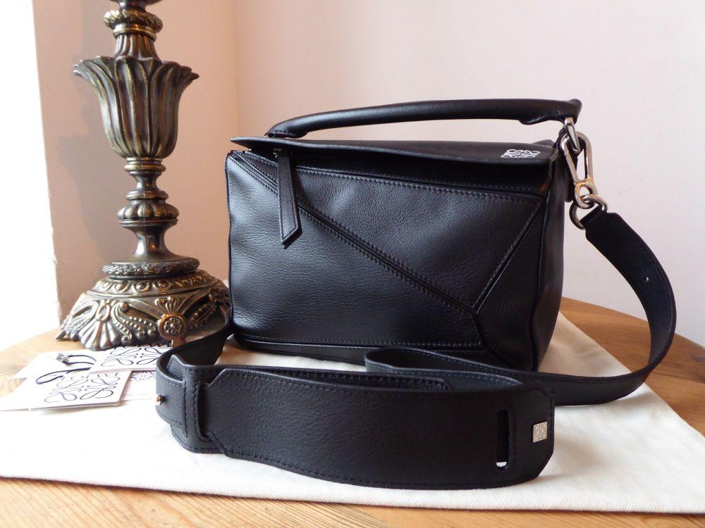 LOEWE Small Puzzle Bag in Black Calfskin with Palladium Hardware