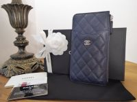 Chanel Classic Zip Pouch in Navy Blue Caviar with Silver Hardware - New