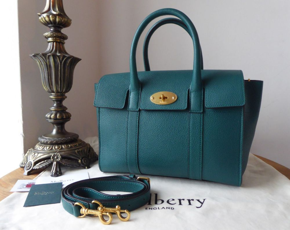 Mulberry New Style Small Bayswater Satchel in Ocean Green Small Classic Gra