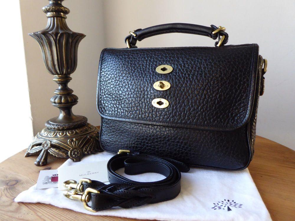 Mulberry Bryn Satchel in Black Shiny Grain Leather