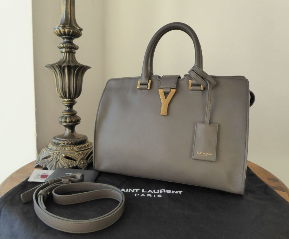 Saint Laurent Classic Small Cabas Y Tote in Grey Calfskin