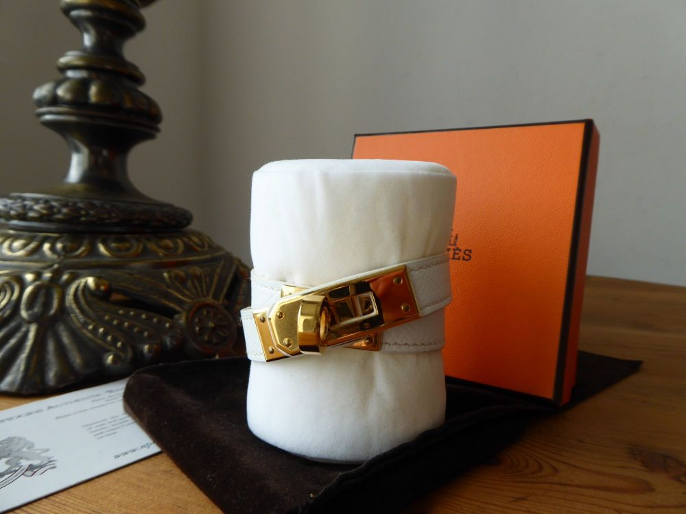 Hermès Kelly Double Tour Leather Wrap Bracelet XS in White Epsom with Gold