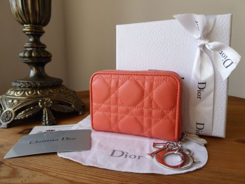 Dior Lady Dior Multi Card Case in Peach Lamb Cannage with Silver Hardware