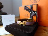 Hermès Clic H  Bracelet in Polished Gold and Bois de Rose Enamel - As New*
