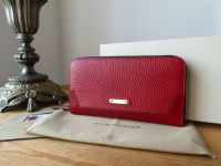 Burberry Ziggy Zip Around Continental Purse in Military Red Calfskin - New
