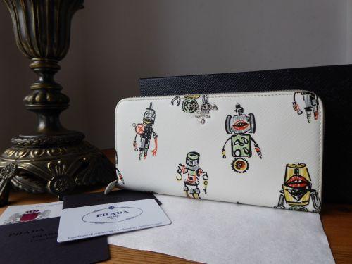 Prada Robots Continental Zip Purse in White Saffiano Leather - New*
