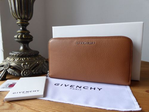 Givenchy Pandora Zip Around Continental Purse in Marron Caramel Goatskin -