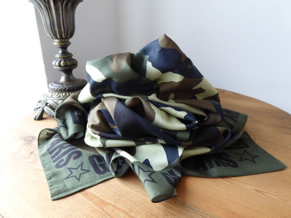 Givenchy Camo Printed Square Scarf in Khaki and Black Cotton Silk Mix