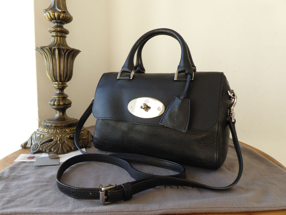 Mulberry Small Del Ray in Black Glossy Goat with Silver Nickel Hardware