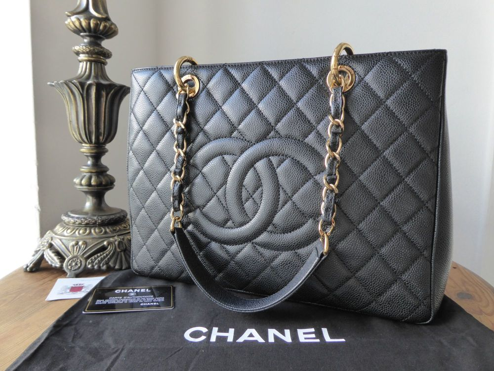 Chanel Grand Shopping Tote GST in Black Caviar with Gold Hardware
