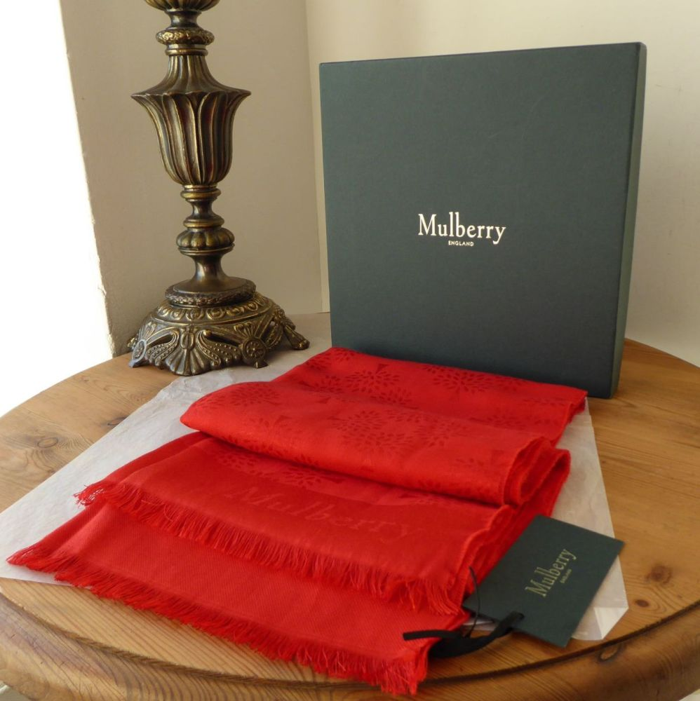 Mulberry Tree Rectangular Scarf in Hibiscus Red Silk Cotton Mix - New*