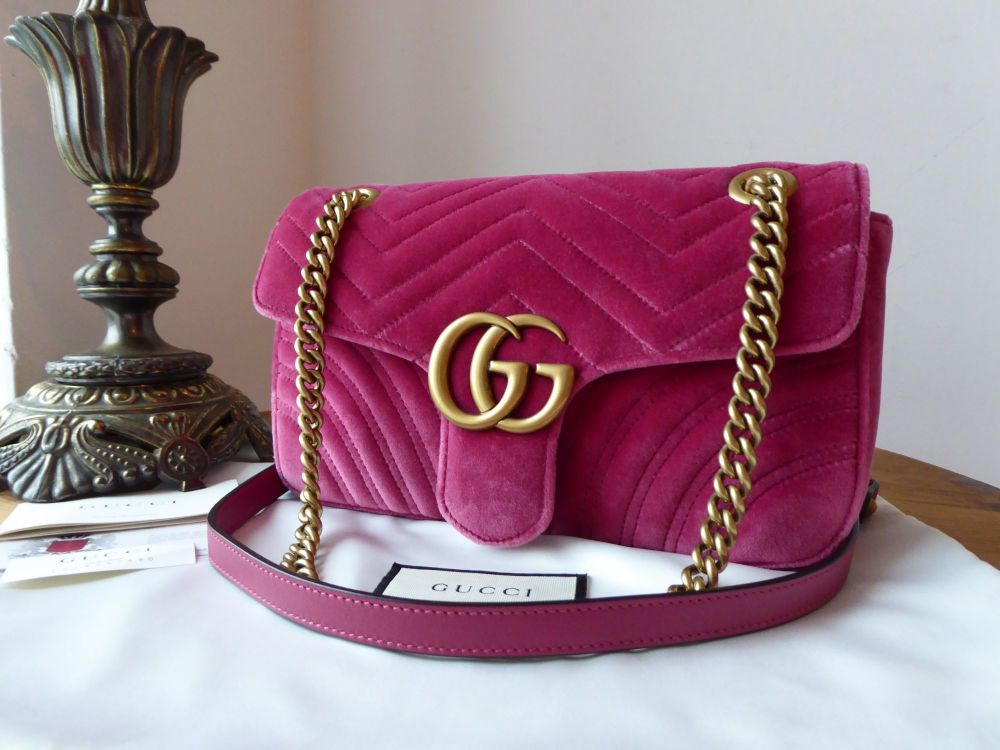 1287b69ded0 Gucci GG Marmont Small Flap Bag in Fuschia Pink Velvet Matelassé ...