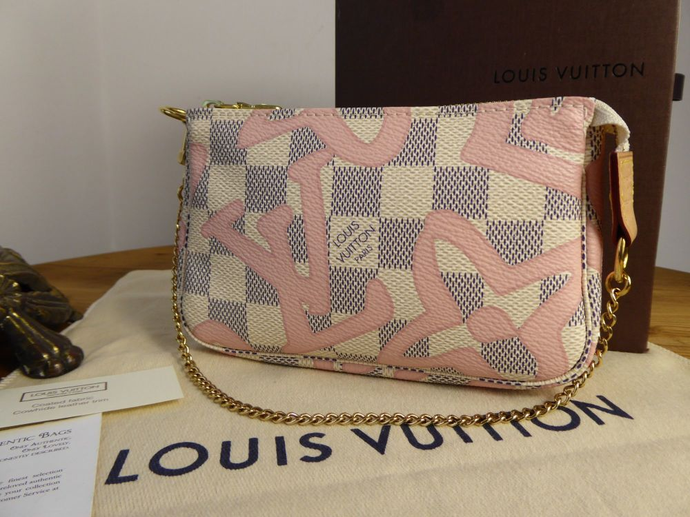 Louis Vuitton Limited Edition Mini Pochette in Damier Azur Rose Ballerine T