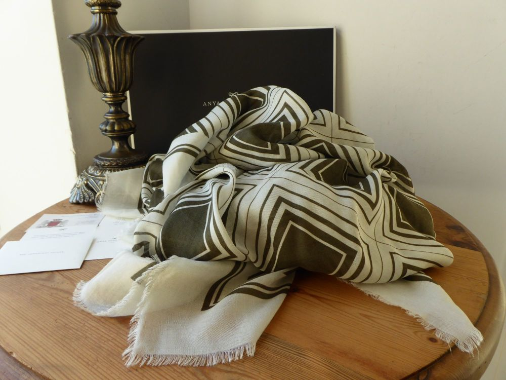 Anya Hindmarch Large Diamonds Wrap Scarf in Chalk and Dark Olive Modal Cash