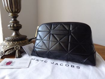 Marc Jacobs Cosmetic Zipped Pouch in Black Calf Leather - New*