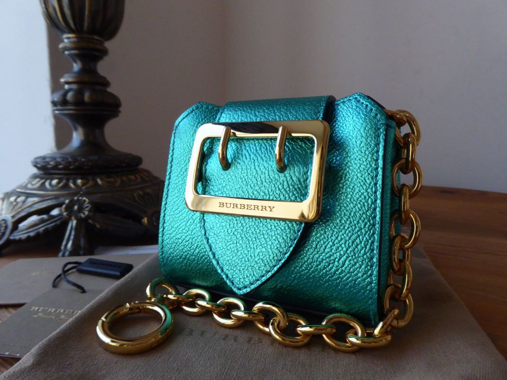 Burberry Shrunken Micro Buckle Tote Bag Charm in Aqua Emerald Metallic Soft