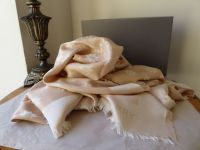 Mulberry Monogram Star Jacquard Large Square Scarf Wrap in Nude & Cream Silk Wool Mix  - New*