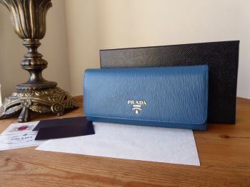 Prada Continental Purse Flap Wallet in Cobalto Blue Vitello Move Leather - New