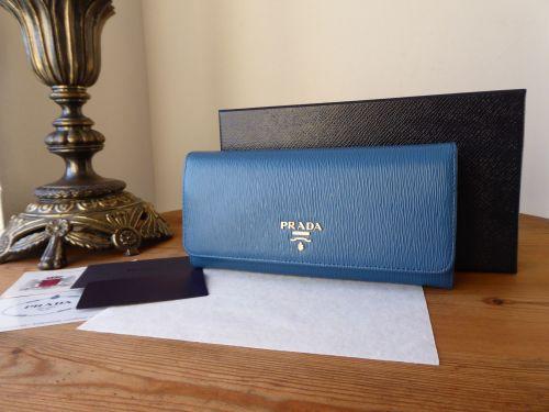 Prada Continental Purse Flap Wallet in Cobalto Blue Vitello Move Leather -