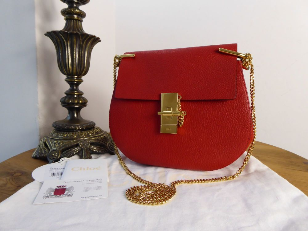 Chloé Drew Small Shoulder Bag in Plaid Red Grainy Lambskin