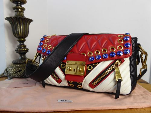 Miu Miu Biker Crystal Nappa Shoulder Bag in Rosso Bianco Nappa Matelasse -  SOLD 8082899637