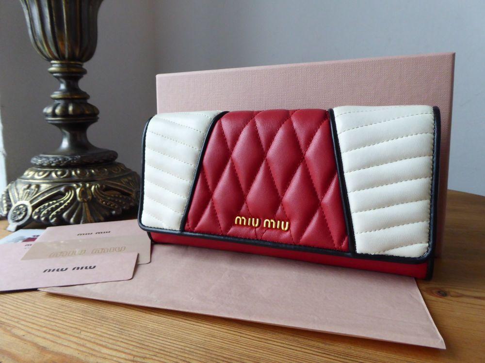 Miu Miu Biker Continental Flap Purse Wallet in Rosso Bianco Nappa Matelasse