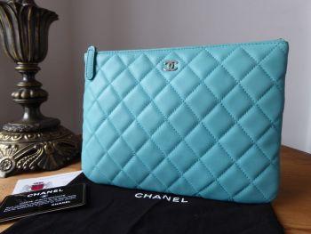 Chanel Medium O Case in Tiffany Blue Lambskin with Silver Hardware