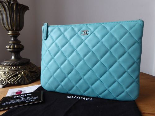 Chanel Medium O Case in Tiffany Blue Lambskin with Silver Hardware