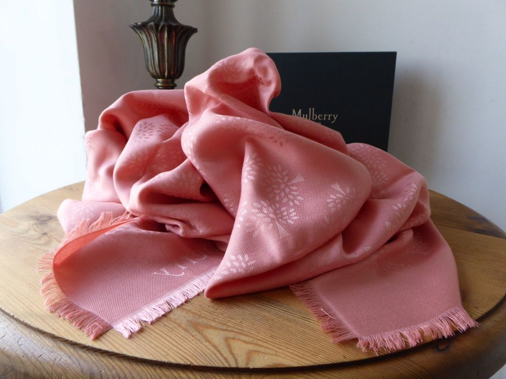 Mulberry Tree Large Square Scarf Wrap in Macaroon Pink Silk Cotton Mix - Ne