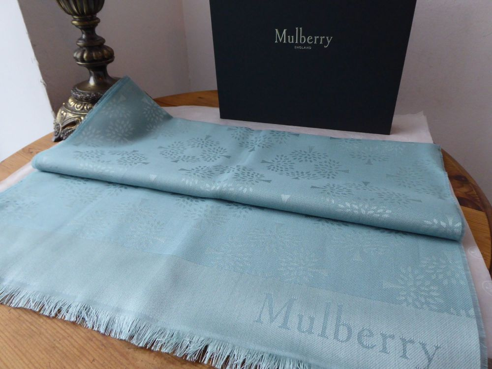 Mulberry Tree Rectangular Scarf in Frozen Silk Cotton Mix - New