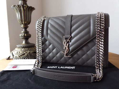 fca8cd3c2900 Saint Laurent Monogram Envelope Flap Bag in Earth Grey Grain de Poudre Text