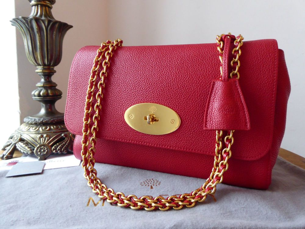 Mulberry Medium Lily in Scarlet Red Small Classic Grain & Felt Liner
