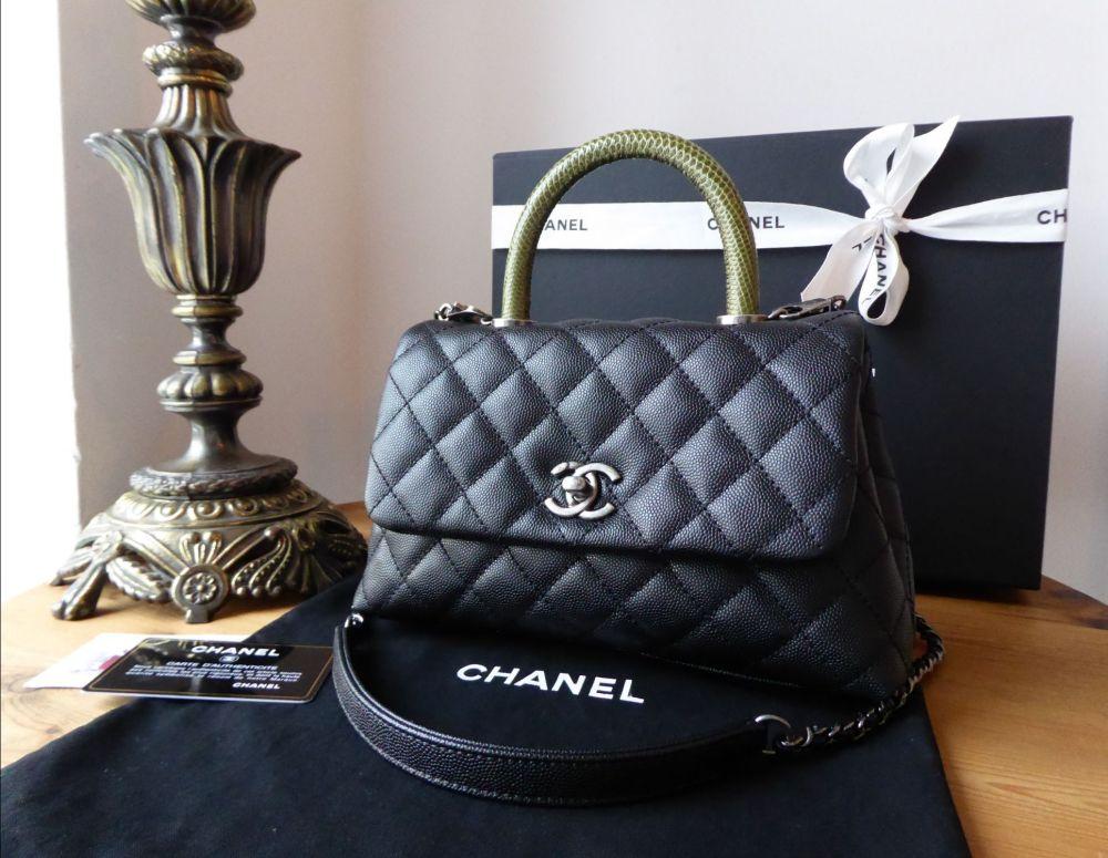 Chanel Mini Coco Handle in Black Caviar with Green Lizard Top Handle - As N