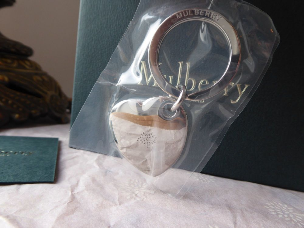 Mulberry Metal Heart Bag Charm Keyring in Shiny Silver - New